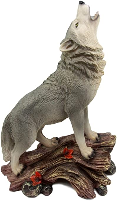 """Atlantic Collectibles Large Howling Gray Wolf Figurine 12.5/""""H Timber Wolf Cries"""