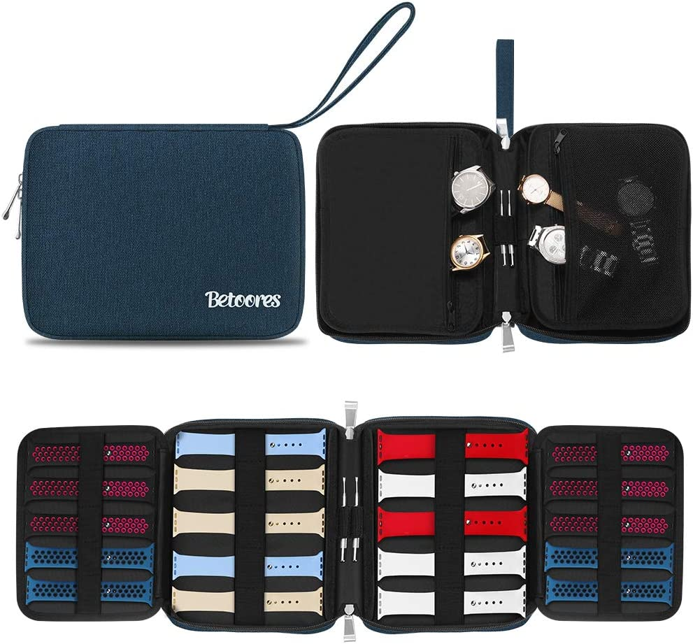 Betoores Watch Band Case Travel Organizer Bag, Expandable Watch Band Storage Case Hold 20 Smart Watch Straps, Compatible with Apple Watch, Fitbit Series - Blue