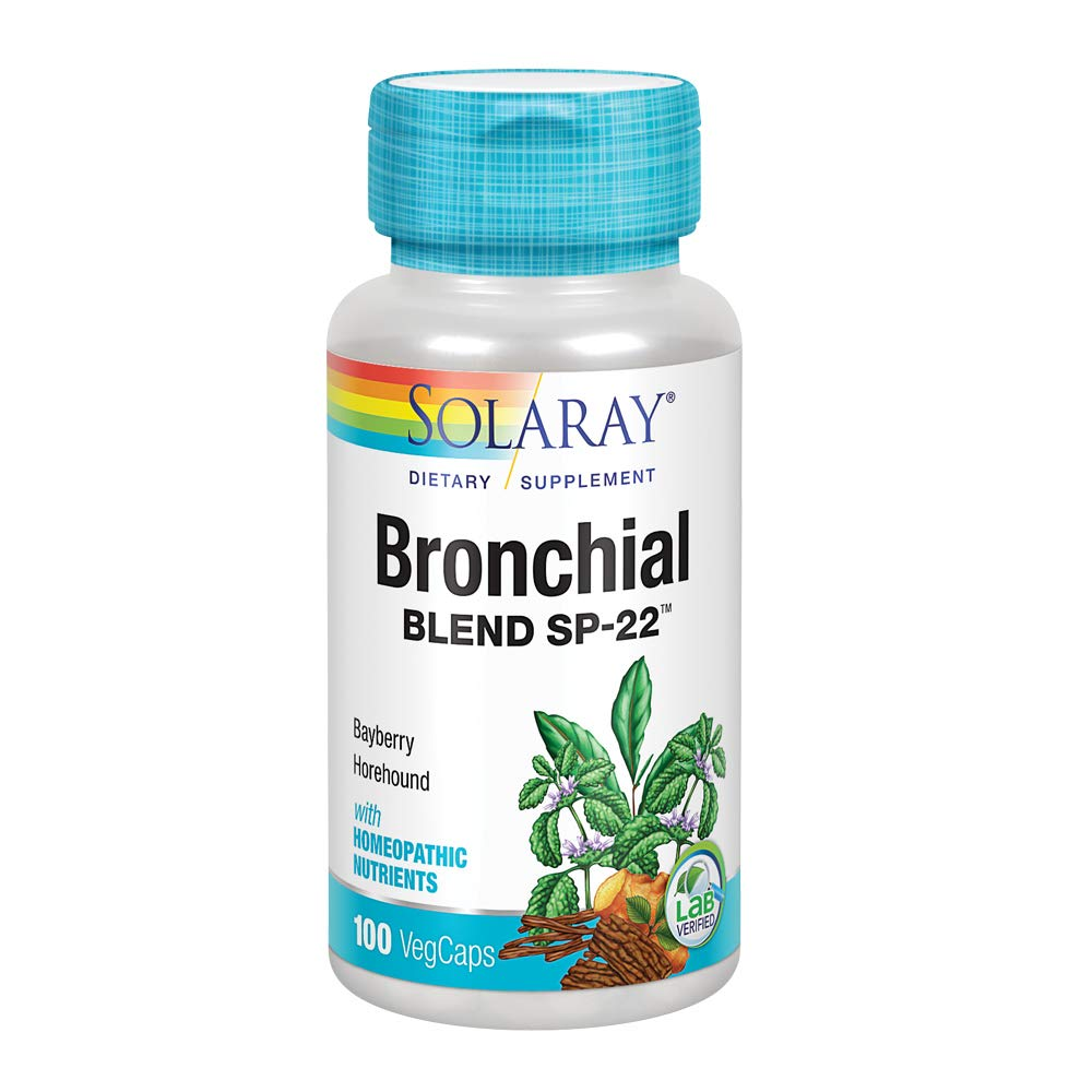 Solaray Bronchial Blend SP-22   Herbal Blend w/Cell Salt Nutrients to Help Support Healthy Respiration   Non-GMO, Vegan   50 Servings   100 VegCaps
