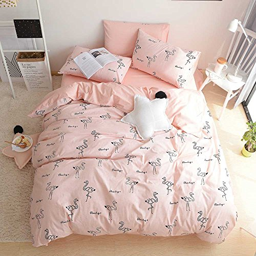 BuLuTu 100% Cotton Flamingo Girls Duvet Cover Set Twin Pink Cute 3 Pieces Kids Bedding Sets Zipper Closure With Ties,Love Gifts for Her,Mom,Women,Sister,Teen Girls,Friend,Family,NO Comforter (Cute Quilts For Beds)