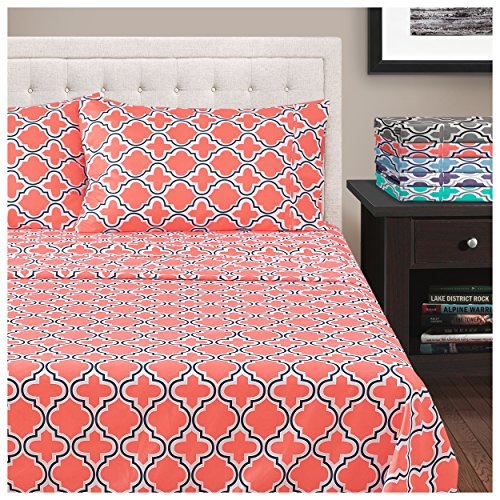 Superior All Season Hypoallergenic, Breathable, Lightweight, Wrinkle, Fade Resistant, Brushed Microfiber Printed Trellis Sheet Set, King - Coral - Printed Coral