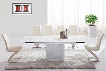 Table De Salle A Manger Extensible Zeus Marbre Blanc Gris Et 6