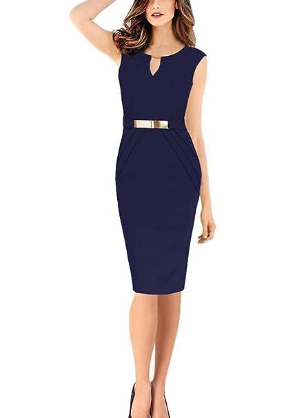 fb00cac0172 Babyonlinedress - Vestido elegante entallado azul azul marino medium:  Amazon.es: Ropa y accesorios