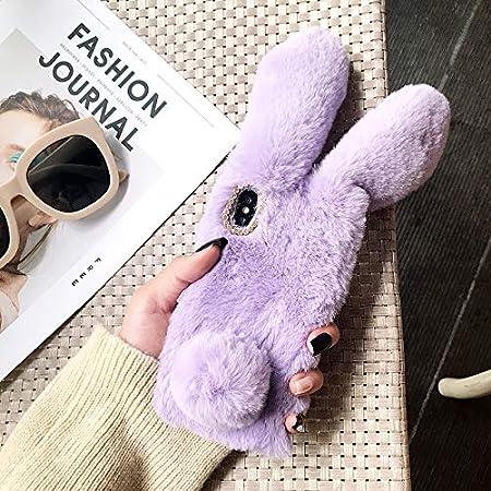 Finemoco Cover per Samsung Galaxy A10,Cover per Galaxy M10 Custodia Coniglio Orecchio Peluche Morbida Cover Silicone Protettiva Cover Carina Rosa Rossa Caso Antiurto Flessibile Gomma TPU Bumper Case