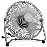 10 metal fan - OPOLAR 9 Inch Metal Desk Fan, Enhanced Airflow, Lower Noise, USB Powered ONLY (No Battery), Two Speeds, Perfect Personal Cooling Fan for Home Office Desk-Gray