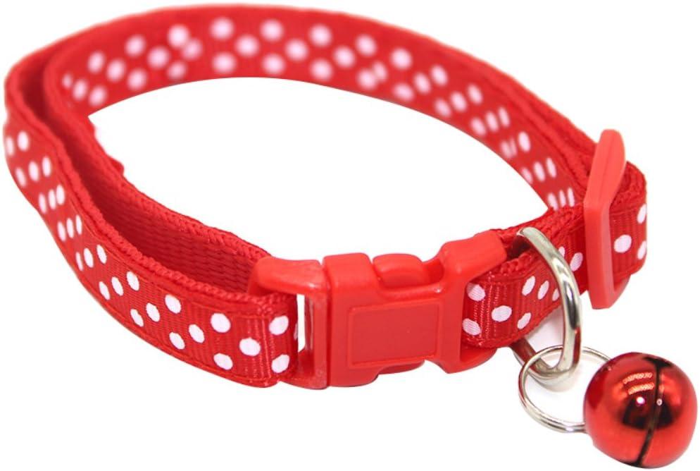 RIsxffp Moda Perro Collar Cachorro Gato Gatito Hebilla Lindo Punto de impresión Bell Ajustable Collar para Mascotas Red