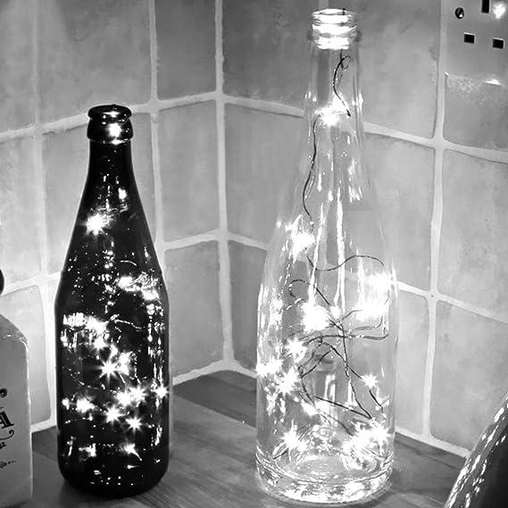 Pivica Lámparas de Botella con Corcho,baterías Blancas Calientes ...