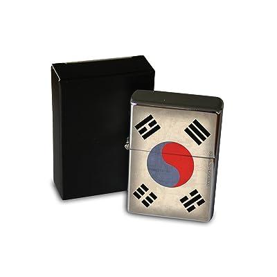 Briquet Chromé Essence Agence Voyage Drapeau de la Corée du Sud Rarement Imprimé