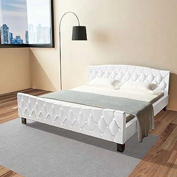 Furnituredeals cama matrimonial Cama de matrimonio y colchon 180x200 cuero artificial blanco camas: Amazon.es: Hogar