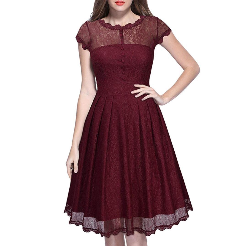 PeiZe 2018 Summer Women Vintage Floral Elegant Mesh Lace Casual Party Formal Dress (XL, RD)