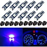 BlyilyB 10-Pack Blue T5 2721 37 74 Wedge Led Bulb PC74 Twist Sockets Replacement Dash Dashboard Lights Instrument Panel…