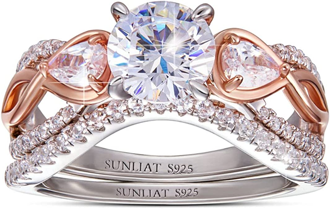 bridal set simulated diamond three bands Gaia 2.5ct princess cut 14k rose gold plated halo engagement ring engagement cubic zirconium