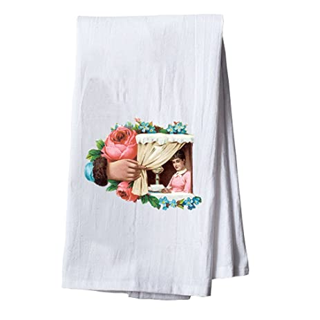Arm Opening Curtain Woman In Window Dish Flour Sack Kitchen Towel