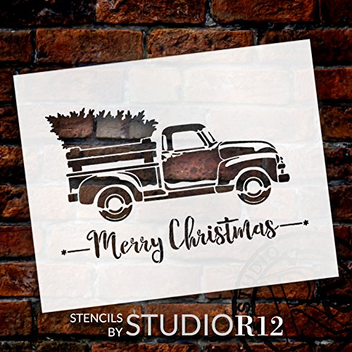 """Little Red Truck with Merry Christmas Stencil by StudioR12 