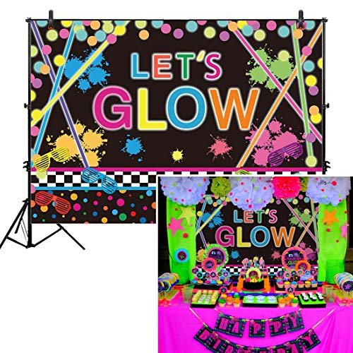 Allenjoy 7x5ft No Creases Neon Glow Backdrop Let's Crazy in the Dark Kids Adult Birthday Party Decoration Supplies Splatter Glowing Dessert Table Banner Photography Background Photo Studio Booth Props ()