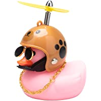 wonuu Pink Duck Car Dashboard Decorations Rubber Duck Car Ornaments Cool Duck with Propeller Helmet Sunglasses Gold…