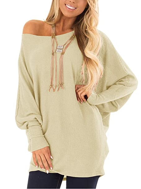 25081941d73 EZBELLE Womens Loose Baggy Oversized Sweaters Off The Shoulder Tops Long  Sleeve Pullover Sweater Knit Jumper