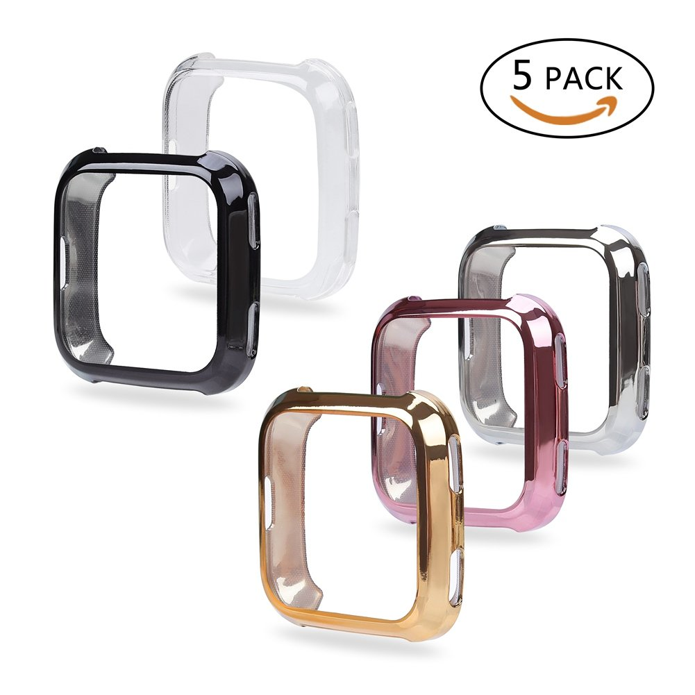 Fingertip WD Fitbit Versa Case, 5Pack Soft TPU Plated Screen Protector Full Protective Bumper Shell Cover for Fitbit Versa Smartwatch