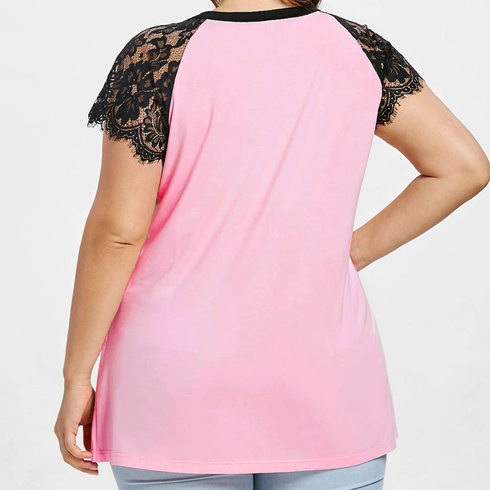 Plus Size Tops for Women BXzhiri Wear Beads Lace V-Neck Cross Short Sleeve Casual Crop Tops Hot Pink by Bxzhiri_Women Tops (Image #4)