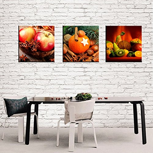 Amoy Art -3 panels Kitchen Art Wall Decor Apple Orange Canvas Prints Artwork Pictures Paintings Photo to Canvas Stretched and Framed Ready to Hang (12x12inchx 3)