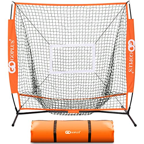 Goplus 5 5 Baseball Softball Net Portable Practice Net Large Mouth Outdoor Sports Net for Hitting, Pitching, Batting, Fielding and Catching w Bow Frame Carry Bag