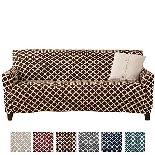 Home Fashion Designs Printed Stretch Sofa Furniture Cover Slipcover Brenna Collection, Chocolate