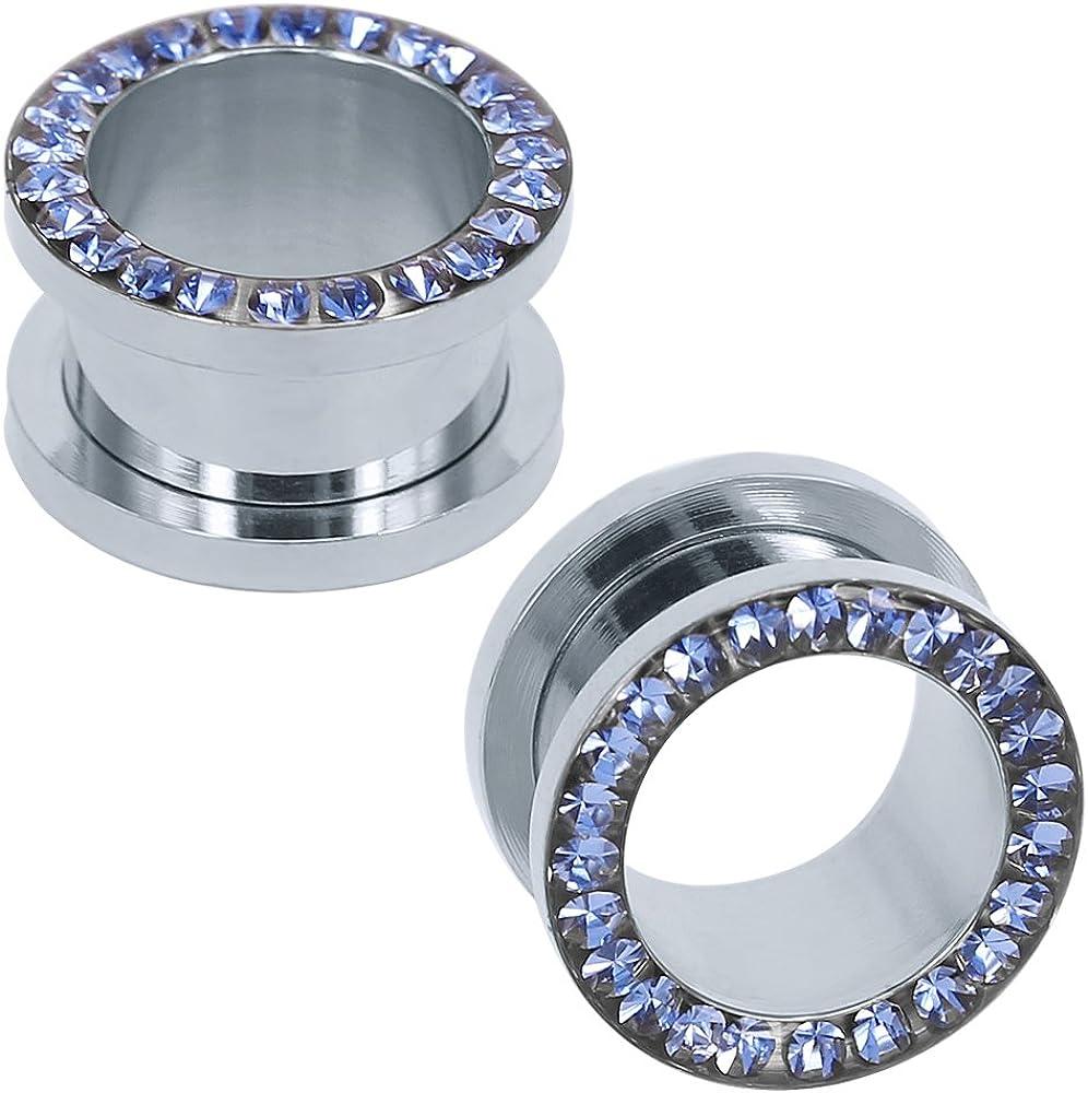 ZS 316L Stainless Steel Rhinestone Crystal Ear Tunnel Plugs Ear Gauges Expanders Body Piercing