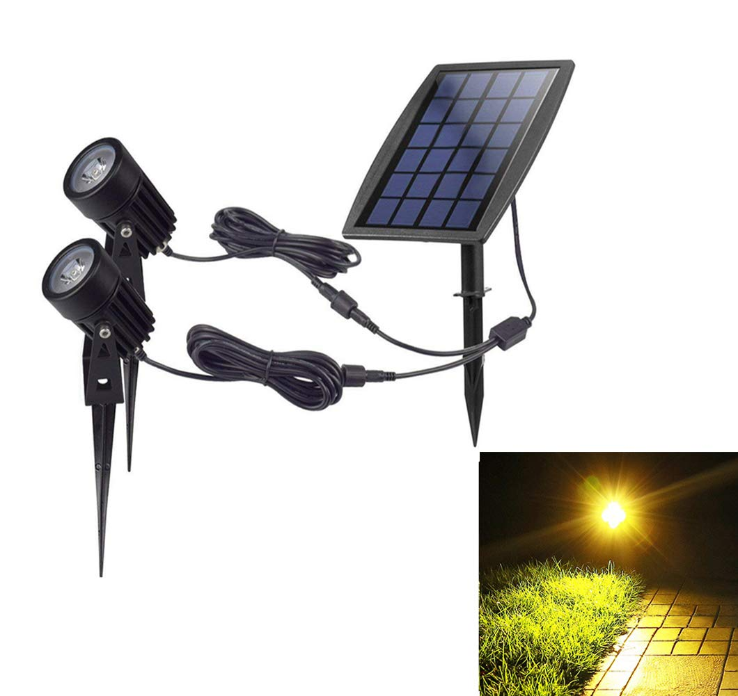 Solar Powered Garden Spotlights for Tree,Waterproof Outdoor Solar Spot Lights,Warm Light Fixture Adjustable Wall Lamps Security Landscape Lighting for Yard/Pool/Lawn/Path