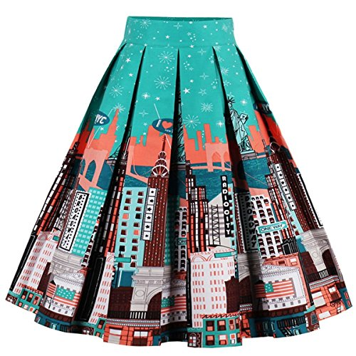 T-Crossworld Women's Vintage A-line Printed Pleated Flared Midi Skirts with Pockets New York Medium