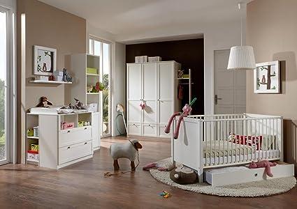 Lifestyle4living 4 Tlg Baby Kinderzimmer Kinderzimmer Komplett Set Babymöbel Junge Mädchen Kleiderschrank Wickelkommode Babybett Weiß