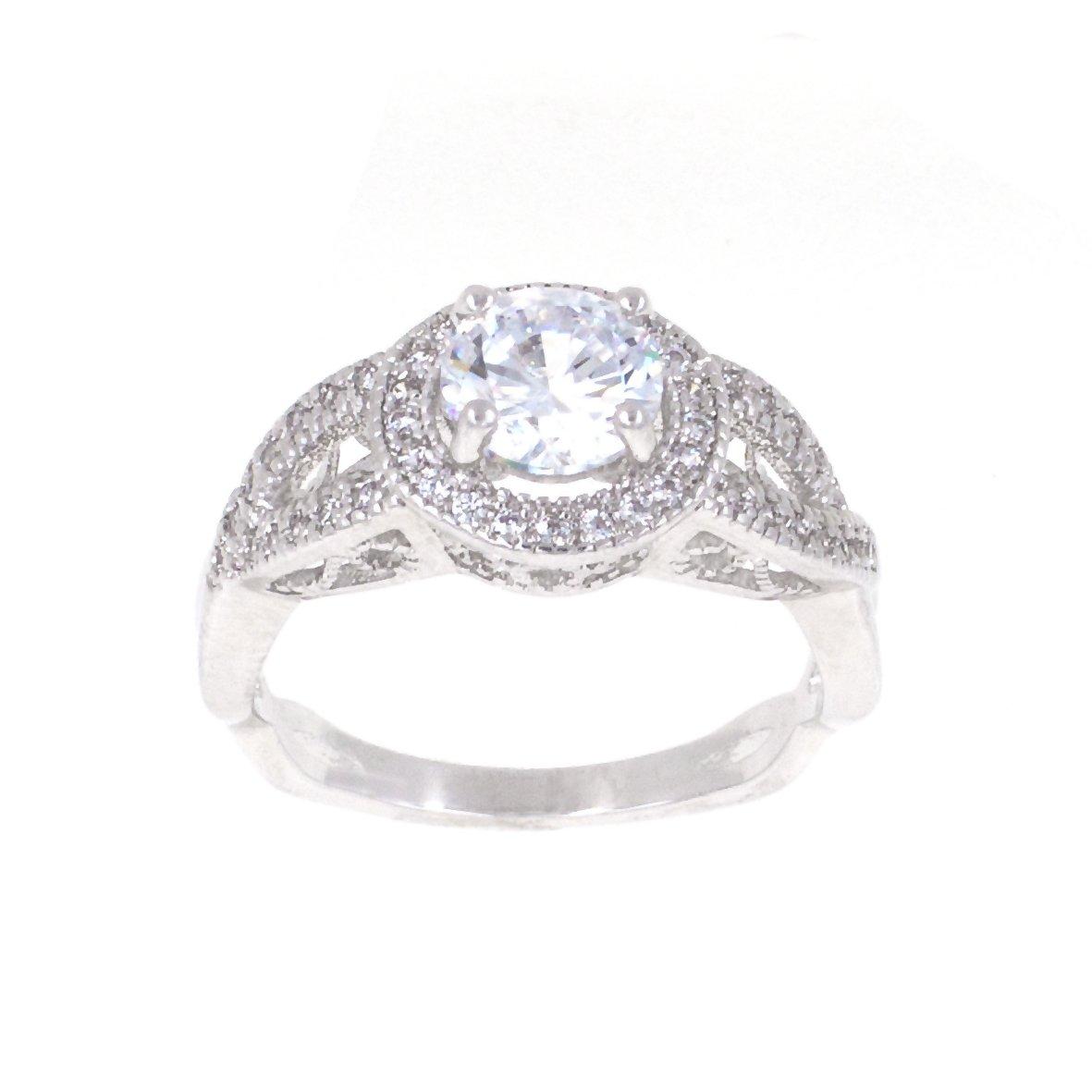 Round Diamond Cut Eternity Love Twisting Split Shank Engagement Ring Size 5-10 Jewelry (Silver, 5)