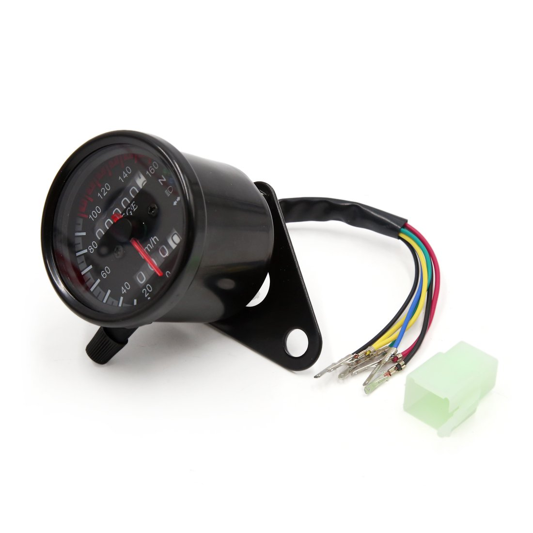 sourcingmap® Motocicleta universal 0-160Km / h Instrumento Medidor Negro dual del odómetro del velocímetro a17031000ux2061