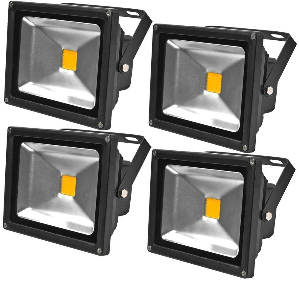 ALPHA DIMA 4pcs Faro LED Esterno 20W,3000K Bianco Caldo a LED,Impermeabile IP65 Proiettore LED per Giardino,AC 85-265V