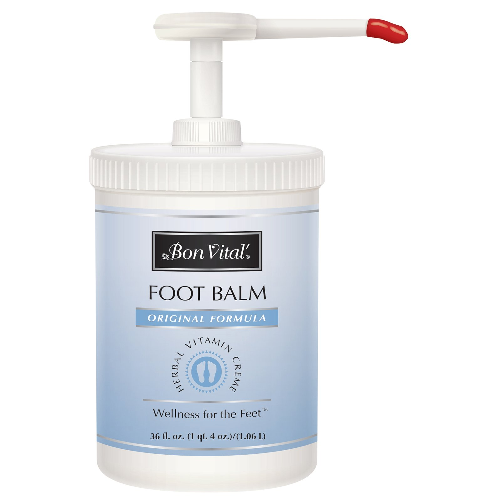 Bon Vital' Original Foot Balm Dry Cracked Feet Heels, Promotes Healthy Feet Speeds Healing Blisters Abrasions on Heel, Increases Circualtion in Feet, 36 Oz Pump Jar