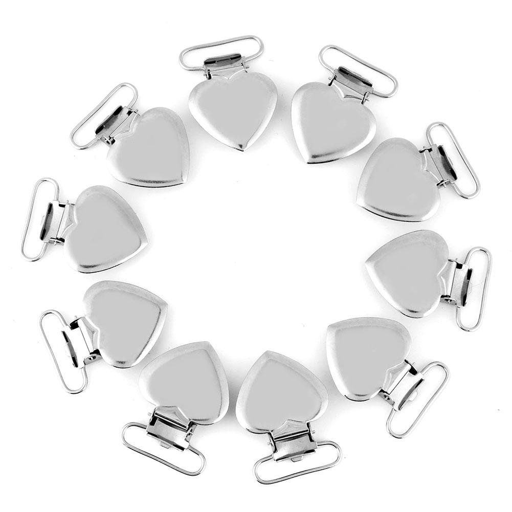 10 Pcs Pacifier Holder Suspender Clips, Metal Heart Shape Clip for Making Pacifier Holders Bib Toy Holder Clips Silver