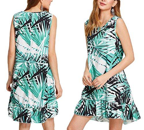 Combclub Women's Sexy Leaves Print Sleeveless Ruffle Hem Beach Casual Midi Sundress (XL (US 6-8)) - Yuzu Leaf
