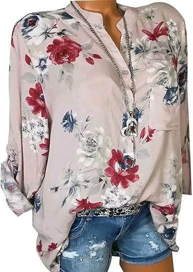 WAZA Camisa de flores para mujer rosa tierra. M: Amazon.es ...