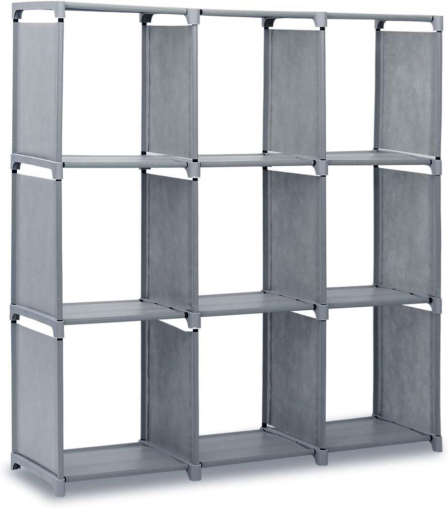 GROWNEER 9-Cube DIY Storage Shelves, Cube Closet Organizer, Open Bookcase Bookshelf Clothes Cabinets Gray
