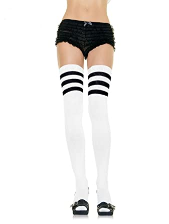41ab17f0733 Leg Avenue White Black Athletic Striped Thigh High Socks - 6605  Amazon.co. uk  Clothing
