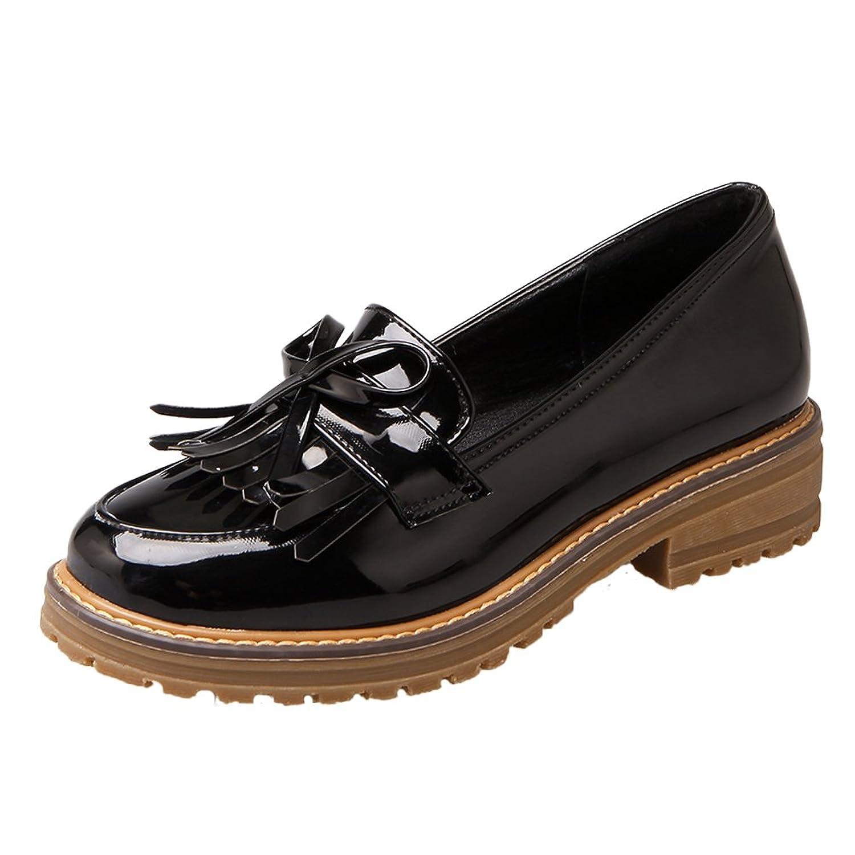 Show Shine Women's Cute Bows Low Heel Tassels Loafers Shoes