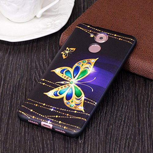 Trumpshop Smartphone Carcasa Funda Protección para Huawei Honor 6C + Linda búho + Serie Talla Ultra Suave Flexibles TPU Silicona Resistente a arañazos Caja Protectora Mariposa de oro
