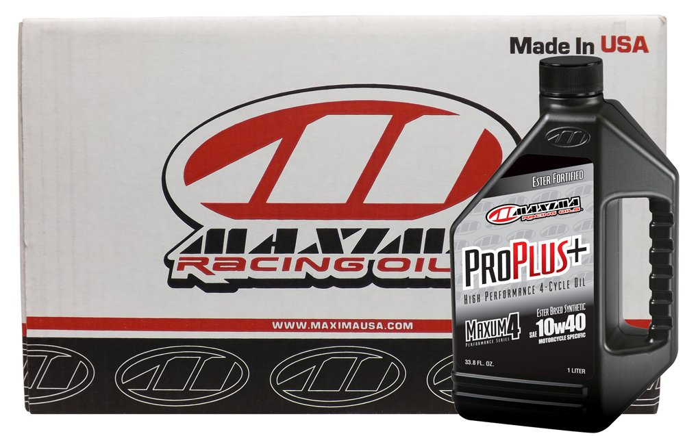 Maxima Racing Oils CS30-02901-12PK-12PK 10W-40 Pro Plus+ Synthetic Motorcycle Engine Oil - 12 L, (Pack of 12) by Maxima