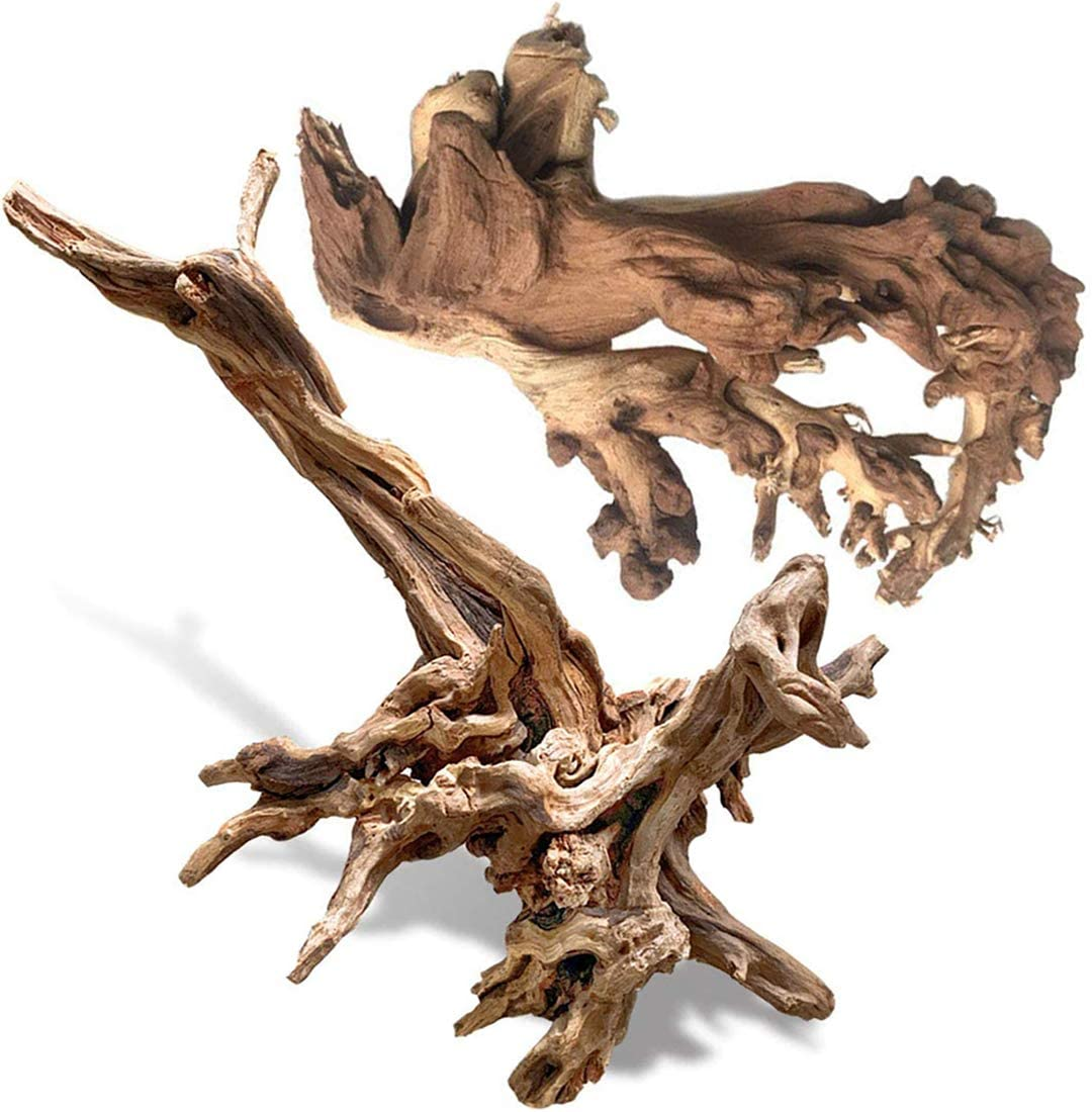 PINVNBY Natural Large Driftwood for Aquarium Decorations Assorted Branches Dearded Dragon Tank Accessories Terrarium Decor 2 Pack