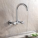 AWXJX Sink Taps kitchen copper balcony Into the wall Hot and cold Double handle Double hole Rotating
