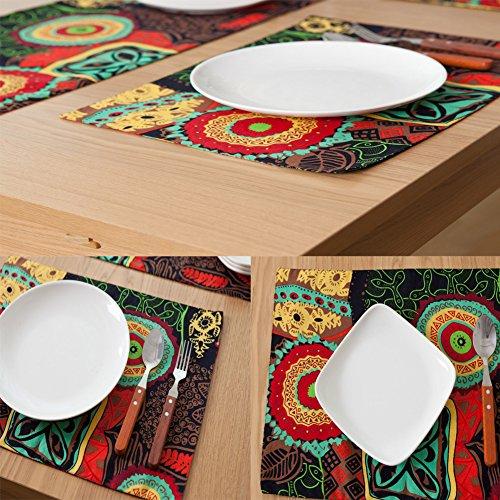 6 piezas Flor de la impresión de la manera colchones de las esteras de la tabla Partido Placemats Lino Comiendo los prácticos de costa Tabla Placemats 32 X ...