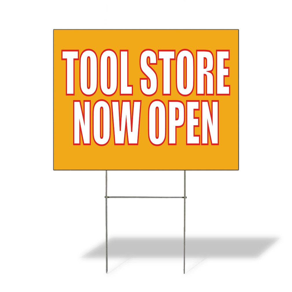 Tool Store Now Open Outdoor Lawn Decoration Corrugated Plastic Yard Sign - 12inx18in, Free Stakes