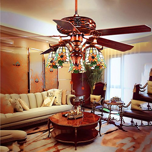 Tiffany Ceiling Fan Shades (Andersonlight Retro Arts Indoor Ceiling Fan 5 Tiffany Stained Glass Handmade Lampshade 5 Walnut Wooden Blades Mute Energy Saving Chandelier Motor Red Bronze Spray Paint 52 Inch HJJ0162)