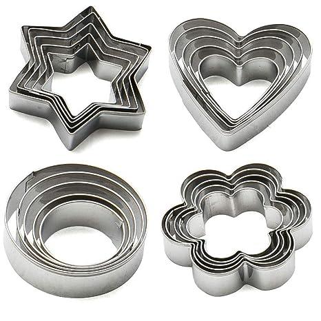 Juego de 20 moldes para galletas de acero inoxidable (formas de estrella, corazó
