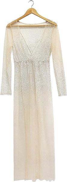 Sukienka z siateczki dla kobiet i dziewcząt, z błyszczącymi kropkami, rozcięta na szyi, na plażę: Odzież
