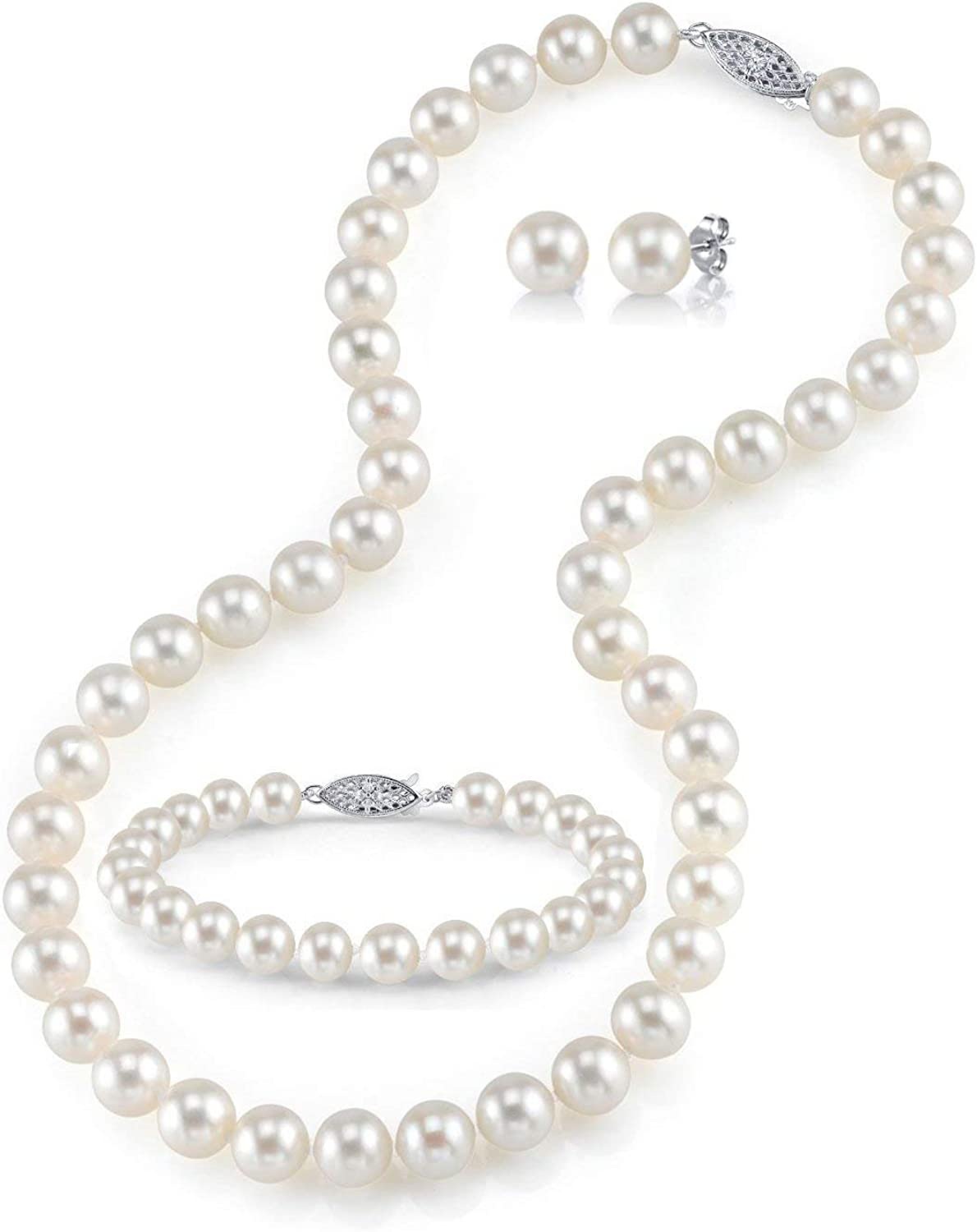 Crystals and Silver Necklace Set Freshwater Cultured Pearls